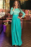 """Длинное нарядное платье """"ELLE"""" с кружевным лифом (5 цветов)"""