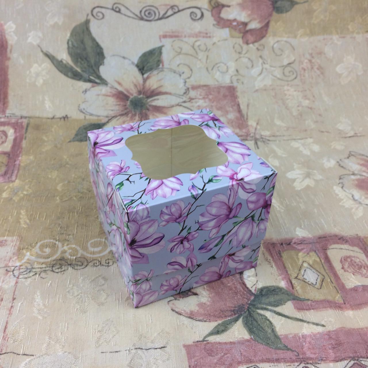 Коробка для 1-ого кекса / 100х100х90 мм / печать-Магнолия / окно-обычн / лк / цв