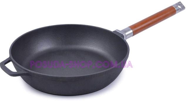 Сковорода Биол Классик чугунная со съемной деревянной ручкой