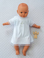 Детская рубаха из хлопка для крещения 3-6 мес (белая), фото 1