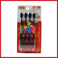 Зубные щетки из бамбука с турмалином  - Черный цвет. 4шт/уп