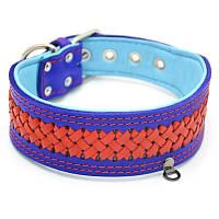 Ошейник кожаный для собак синий