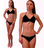 Черный вязаный крючком раздельный купальник - бикини с ажурными отделками