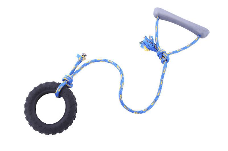 Шина с веревкой большая Sum-plast, игрушка для собак 15 см