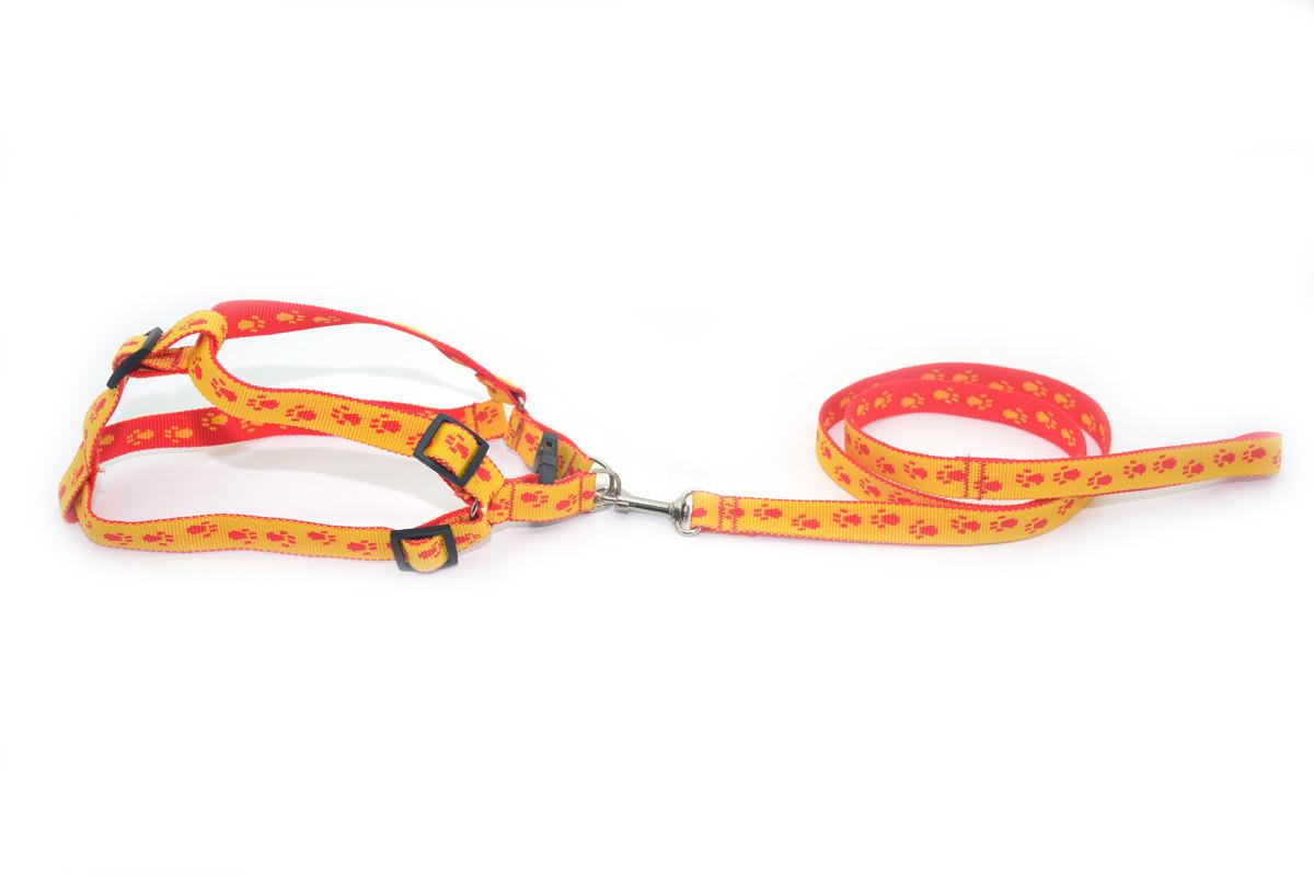 Комплект капроновый Лапки для собак и котов красно-желтые