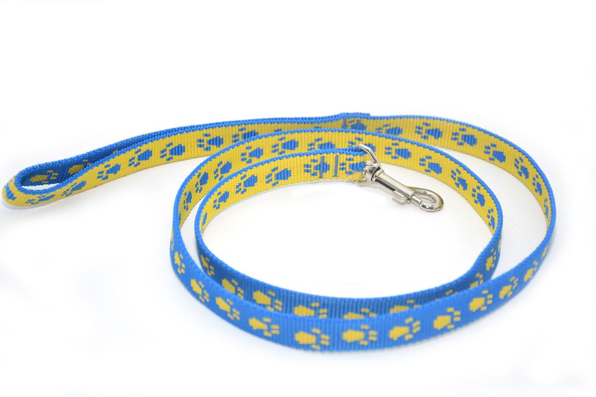 Поводок для собак и котов капроновый Лапки 2,0 голубувато-желтый ПКЛ 2,0/120