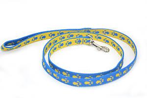 Поводок для собак и котов капроновый Лапки 2,0 голубувато-желтый