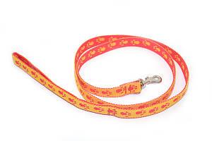 Поводок для собак и котов капроновый Лапки 2,0 красно-желтый