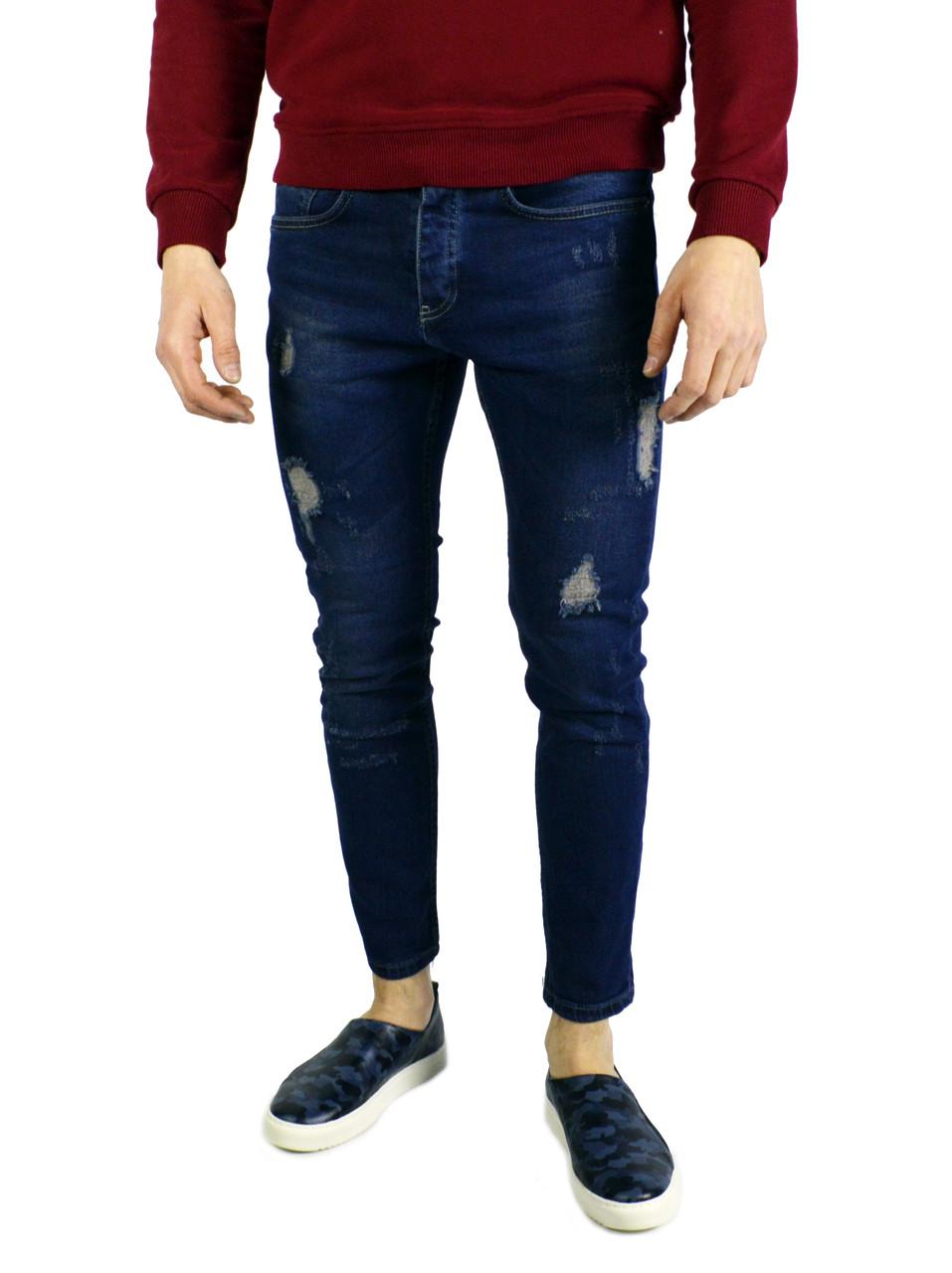 Темно-синие мужские джинсы зауженные ZARA