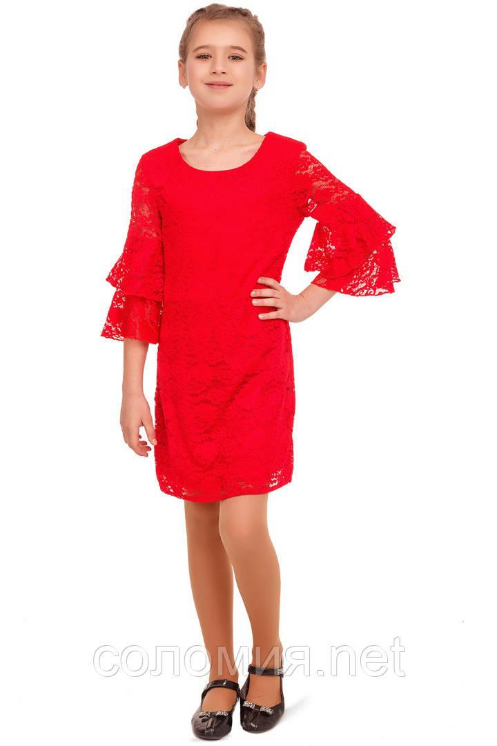 Яркое Нарядное платье  из кружевного гипюра 140-152р