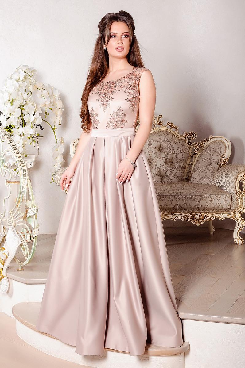 Роскошное длинное вечернее платье бежевого цвета из атласа на выпускной или  мероприятие 8013 1c3d0d67bb2e3