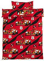 Комплект детского постельного белья красное тачки (100% хлопок) 140х200 см.