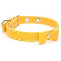 Ошейник для собак винил кожаный vip14 желтый