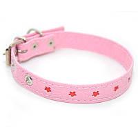 Ошейник для собак винил кожаный VIP16-1,4/22-28 розовый, фото 1