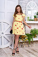 Летнее платье мини свободное с поясом желтое сердца