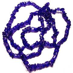 Бусины Сколы Кварц Синий, Крошка Кубиками, Размер: 4-6*4-6 мм. Отв. 1мм. около 85 см. нить