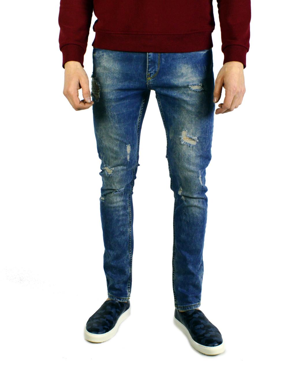 3199924b182 Голубые рваные мужские джинсы зауженные VIKING -