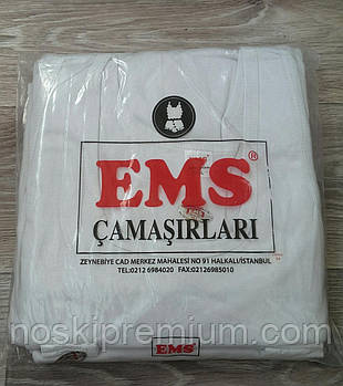 Майка мужская EMS 100% хлопок, Турция, размер S (48), белая, 02338