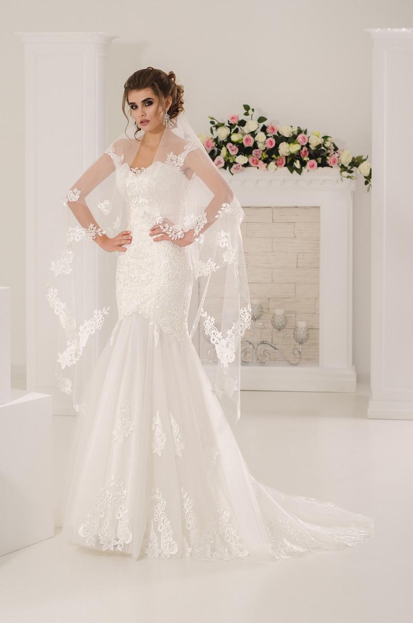 Свадебное платье Русалка с шлейфом