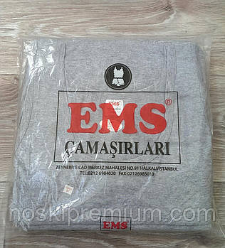 Майка мужская EMS 100% хлопок, Турция, размер S (48), серая, 02339