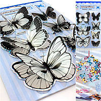 Бабочки объёмные,наклейки на планшетке (размер планшетки 19,5х12см) Цвета - на фото