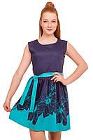 Прелестное платье с ярким цветочным принтом  на юбке 146-152р, фото 1