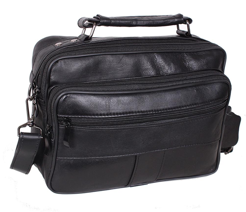 2135ed7b99e4 Мужская кожаная сумка SW2022 Черная - Интернет магазин