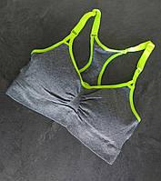 Спортивный женский топ для йоги с чашками, цвет серый