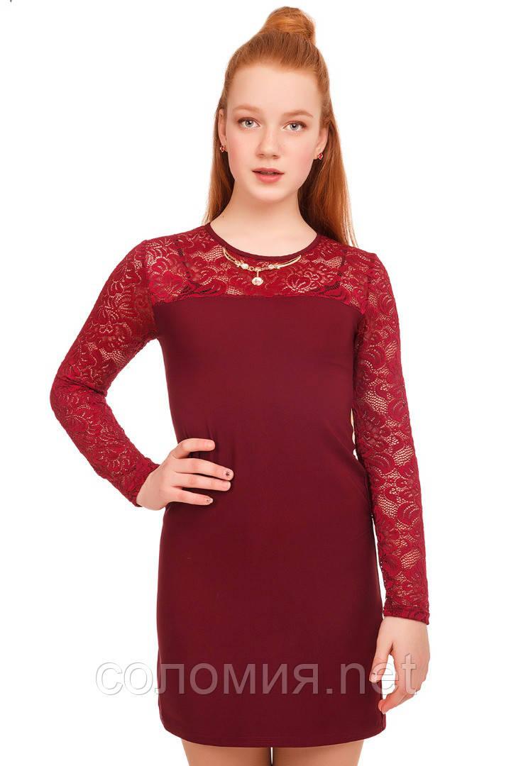 Нарядное платье из ткани двух видов для девочки 134-152р