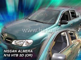 Дефлекторы окон (ветровики)  NISSAN ALMERA - N-16 2000 HTB →(HEKO)