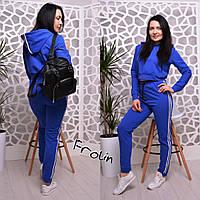 Женский модный спортивный костюм: укороченный свитшот и брюки (3 цвета)