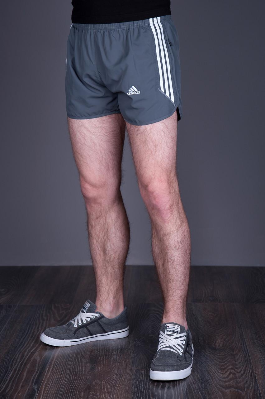 Мужские короткие спортивные шорты ADIDAS. Цвет - серый - Интернет-магазин  мужской одежды