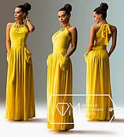 Платье макси из штапеля с американской проймой на завязке с бусинами и с широкими карманами 3939