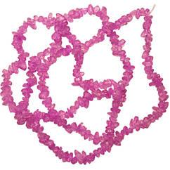 Бусины Сколы Кварц Розовый, Крошка Кубиками, Размер: 4-6*4-6 мм. Отв. 1мм. около 85 см. нить