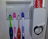 Автоматический дозатор для зубной пасты+подставка для зубных щеток (белый), фото 4