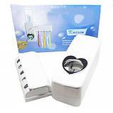 Автоматический дозатор для зубной пасты+подставка для зубных щеток (белый), фото 7