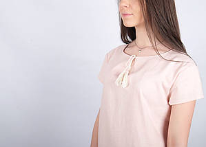 Женское платье вышиванка Крайола пудра, фото 3