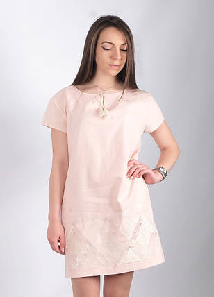 Женское платье вышиванка Крайола пудра, фото 2