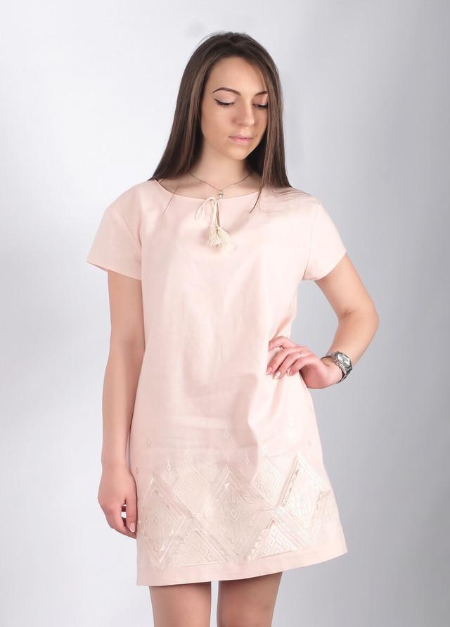 Женское платье вышиванка Крайола пудра