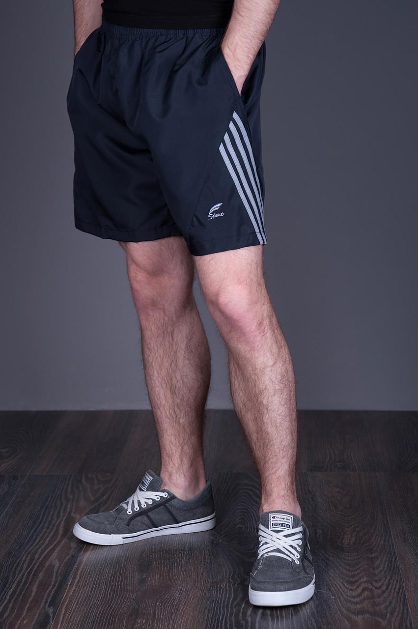 Чоловічі шорти великого розміру (плащівка), синього кольору з сірими смугами.
