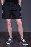 Чоловічі шорти великого розміру (плащівка), чорного кольору з сірими лампасами., фото 2