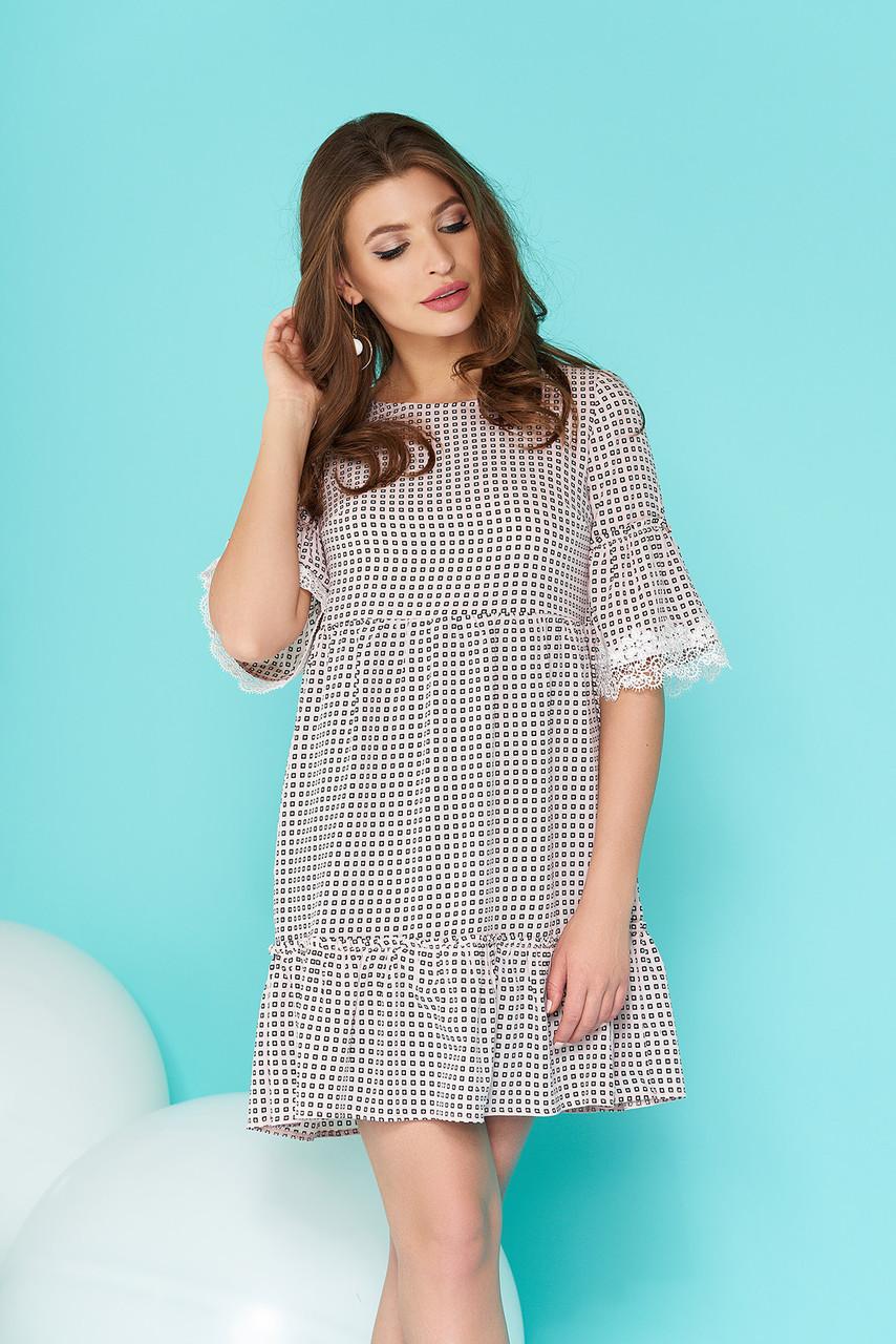 Красивое платье свободного кроя короткое рукав до локтя черно белое
