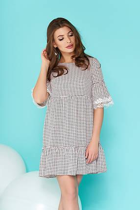 Красивое платье свободного кроя короткое рукав до локтя черно белое, фото 2
