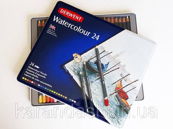 """Карандаши акварельные Derwent  """"Watercolour"""" 24 шт. в металлической коробке 32883, фото 2"""