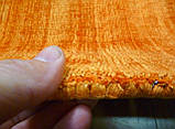 Однотонний тканий вручну жовтогарячий килим з бамбукового шовку, фото 4