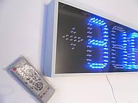 Часы термометр светодиодные уличные синие. Яркость 4000мКд