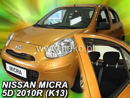 Дефлектори вікон (вітровики) NISSAN MICRA - K13 2010-2017r (HEKO)