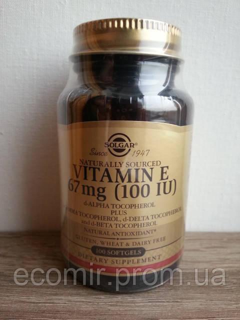 Натуральный витамин Е, Solgar (100 МЕ / 100 капсул)