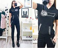 55dd667fb275 Женский, спортивный костюм отличного качества с принтом из страз: штаны и  футболка с капюшоном