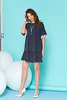 Летнее платье короткое свободное с белыми кружевами синее
